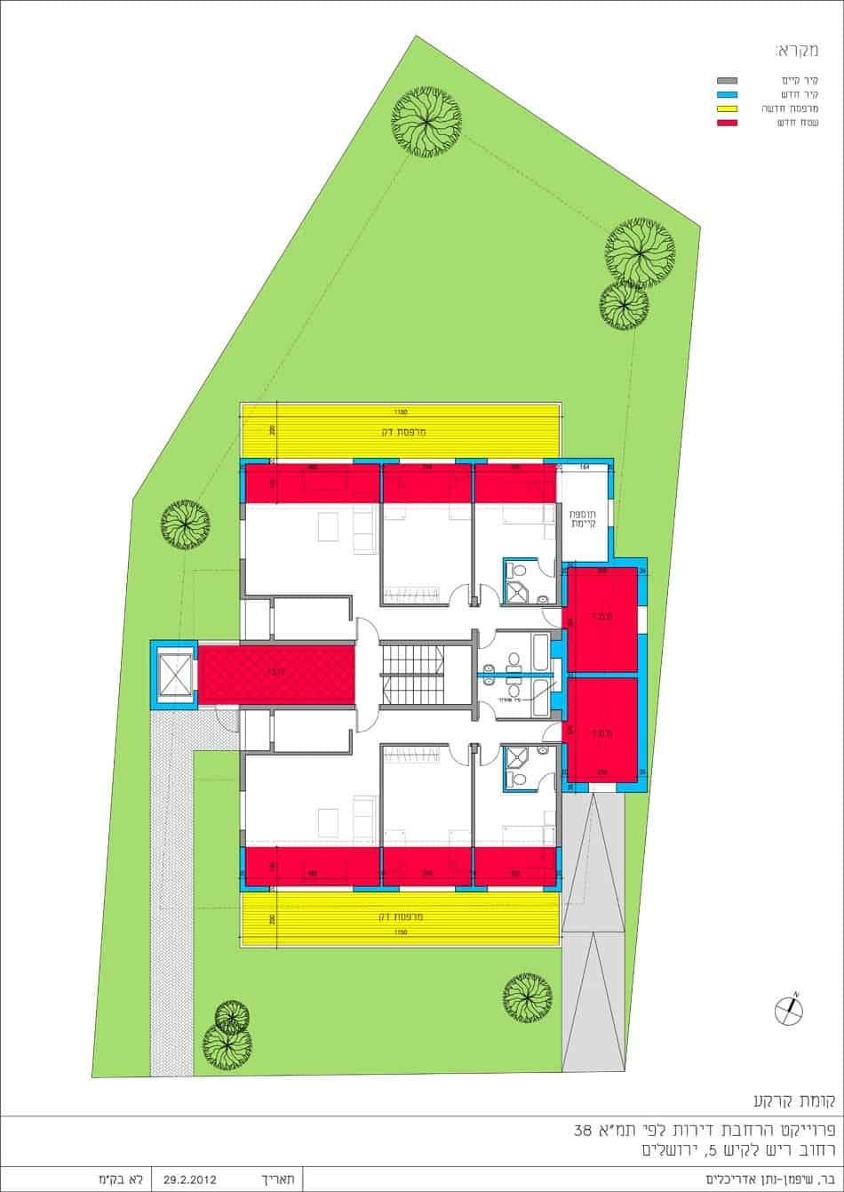Reish Lakish 5, Jerusalem – Ground floor plan in Tama 38 project