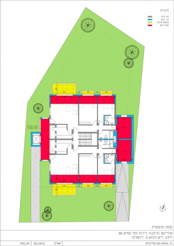 ריש לקיש 5, ירושלים - הדמיית קומה סטנדרטית של פרויקט תמא 38
