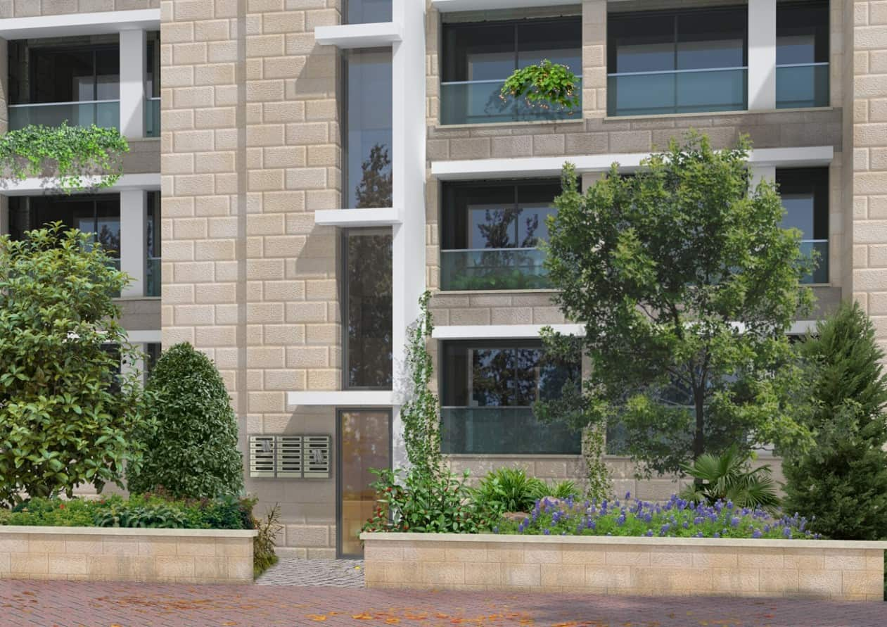 Rivka 22, Jérusalem – Entrée du bâtiment après la mise en œuvre de Tama 38 projet