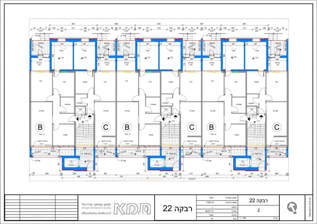 Rivka 22, Jerusalem – Typical floor plan, entrances C-E