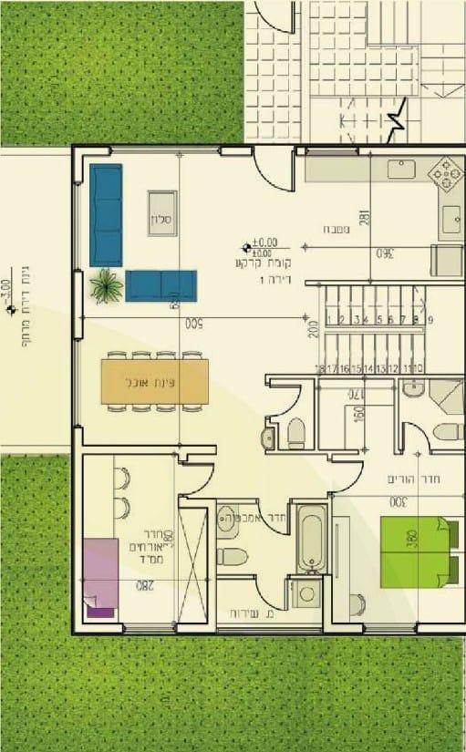 אלומה הירוקה - תוכנית דירה טיפוסית עם עליית גג