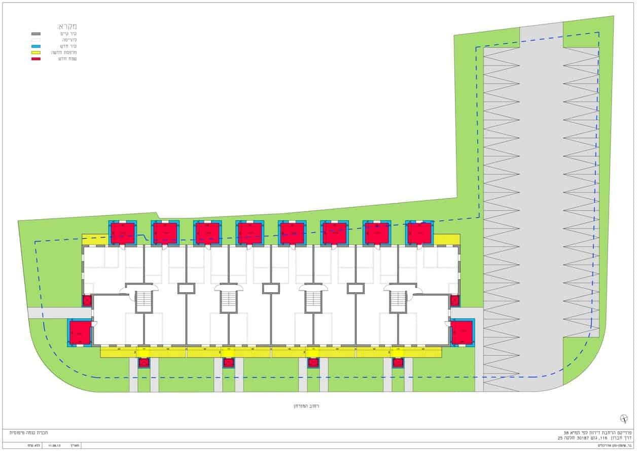 """דרך חברון 116, ירושלים - תוכנית קומה טיפוסית פרויקט תמ""""א 38"""