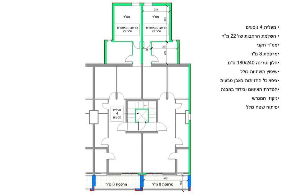 בר יוחאי 18, ירושלים - תוכנית קומה סטנדרטית של פרויקט תמא 38