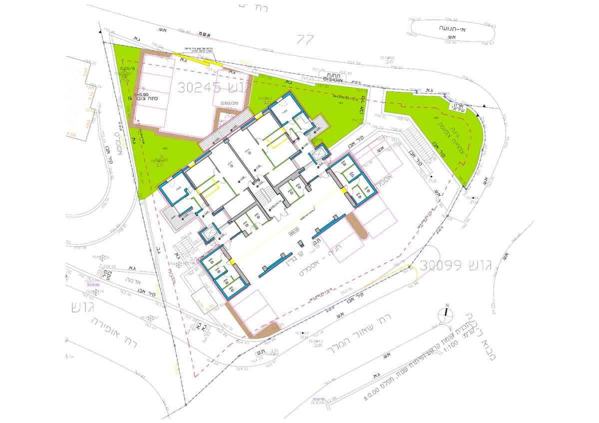 Shaul HaMelech 63, Jerusalem – Ground floor plan in Tama 38 project