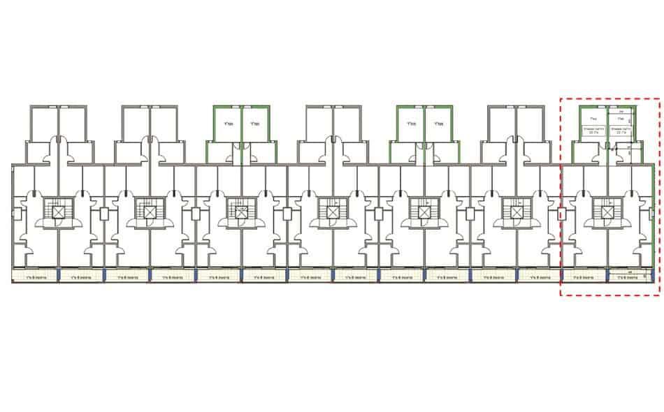 Bar Yohai 18, Jerusalem – Ground floor plan in Tama 38 project
