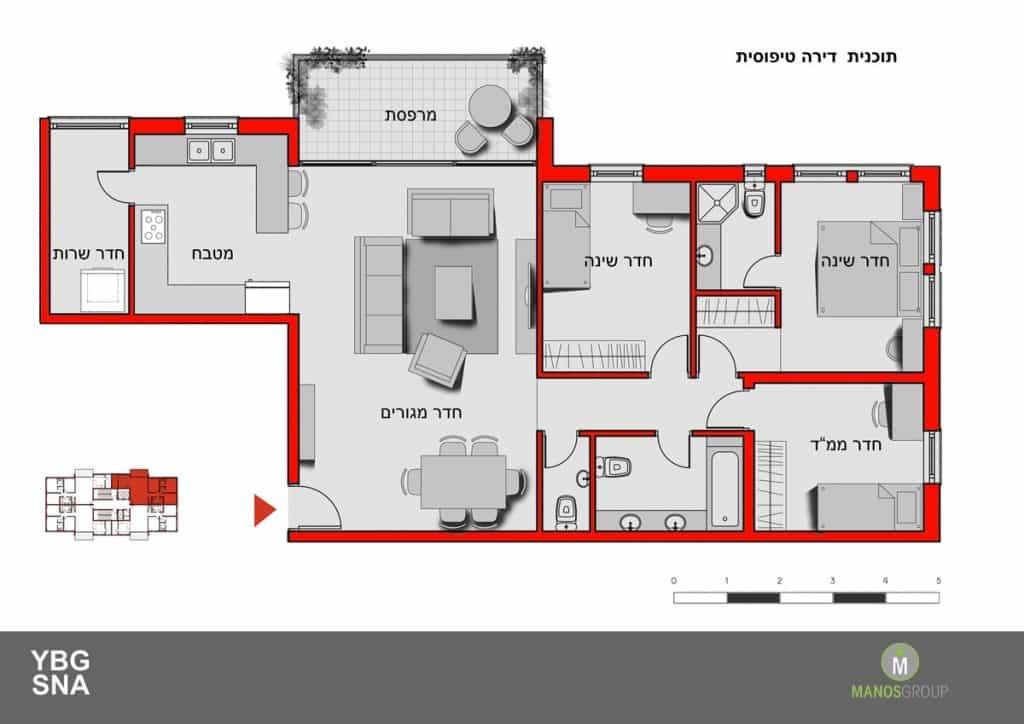 פינוי בינוי - תכנית דירה טיפוסית במתחם אורוגוואי, קרית היובל