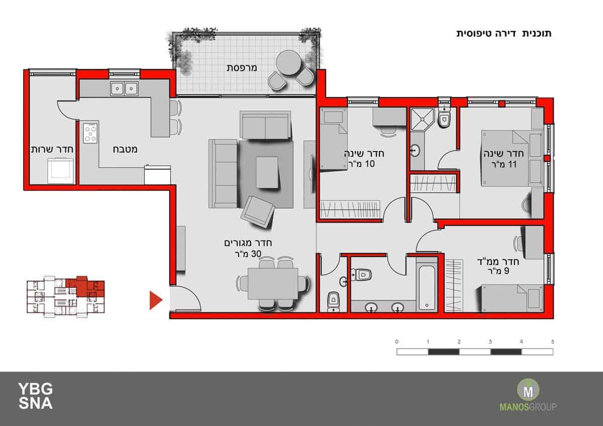 פינוי בינוי בירושלים - תכנית דירה טיפוסית במתחם ברזיל, קרית היובל