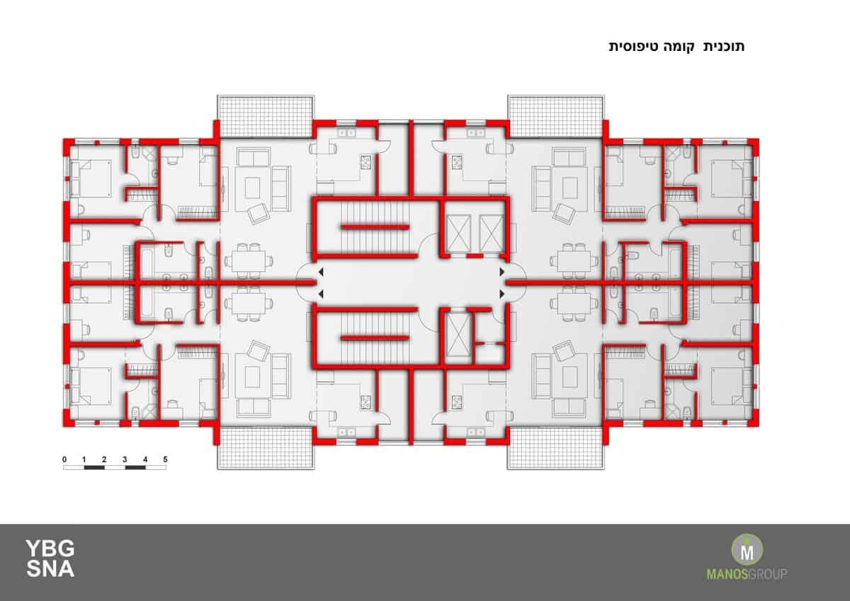 פינוי בינוי - תכנית קומה טיפוסית במתחם אורוגוואי, קרית היובל