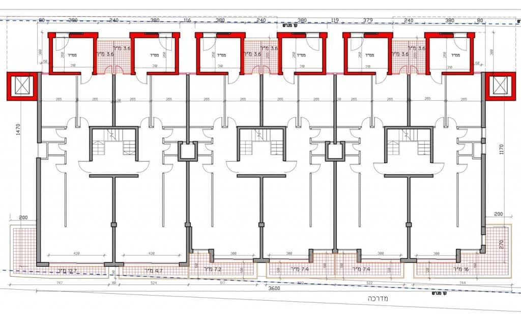 אלמליח 144, ירושלים - תוכנית קומה טיפוסית פרויקט תמא 38